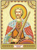 Схема для вышивки иконы бисером на натуральном художественном холсте Святой Александр