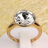 R13-0026 - Позолоченное кольцо с кристаллом Swarovski Rivoli Crystal, 16.5 р.