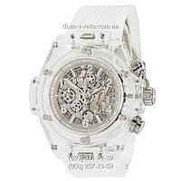 Мужские наручные часы Hublot Big Bang Quartz Unico Sapphire White, кварцевые часы с хронографом Хублот