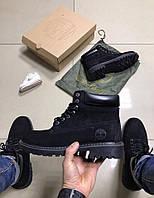 44 размер)29 см) - Зимние мужские ботинки Timberland черные с мехом 0191