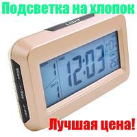 Часы электронные настольные с термометром и подсветкой 2616,на хлопок