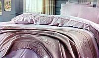 Gelin home КПБ + покрывало YAPRAK евро лиловый