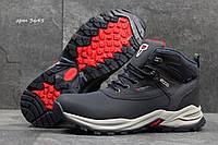 Мужские ботинки ECCO Biom Зима. Нубук Мех 100% Темно синие