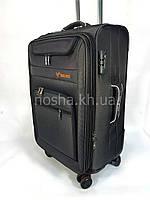 Дорожный чемодан среднего размера 65л Tree Birds Черный на четырех колесах