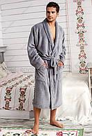 Мужской халат махровый Турция синий и коричневый цвет 46-54р