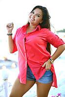 Женская хлопковая рубашка сочные цвета БАТАЛ