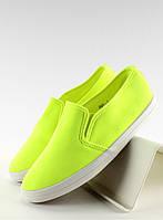 11-13 Зеленые женские кроссовки-слипоны из ткани 1-98 39,40,41,38,37,36
