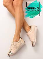 11-13 Бежево-розовые женские кроссовки со со стразами t273p 41,39,38