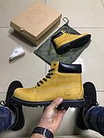 Зимние мужские ботинки Timberland светло-коричневые с черным с мехом 0189
