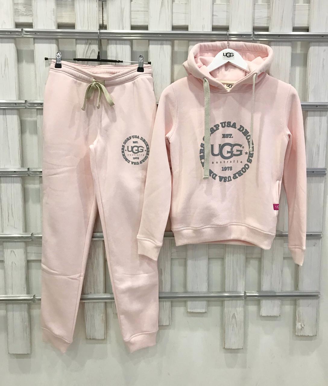 Теплый женский костюм от UGG Australia Print Classic Neck Hoodie Pink, бледно-розовый