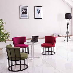 Кресло мягкое на металлическом каркасе ЭНН олива, черный