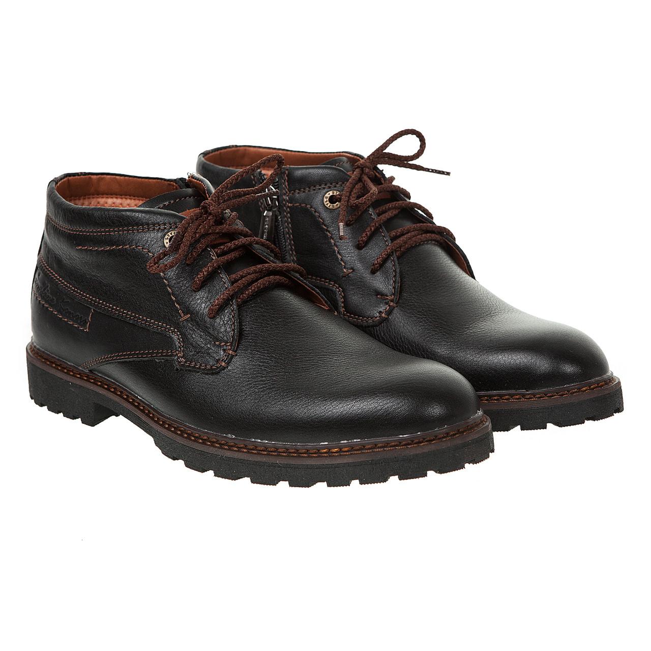 Ботинки мужские Konors(кожаные, черные с коричневыми шнурками) - Marigo -  обувь женская a88e1dddfbb