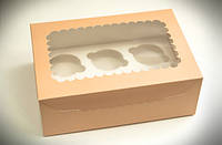 Коробка для 6 кексов, капкейков, маффинов с прозрачным окном.,255х180х90 мм, персик