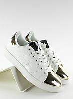 11-19 Золотисто-белые женские кроссовки носки зеркальные q56 40