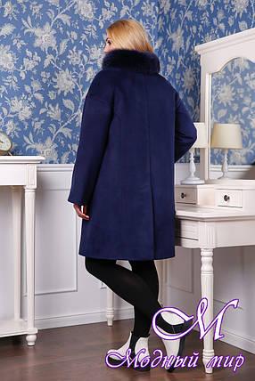 Женское кашемировое зимнее пальто с меховым воротником (р. 44-56) арт. 1051 Тон 5, фото 2