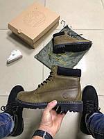 Зимние мужские ботинки Timberland с мехом хаки 0190