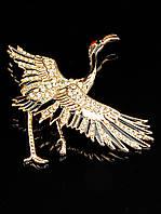 037699 Брошь Фианит позолоченное украшение (ювелирная бижутерия)