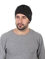 Шапка вязаная мужская темно-серая в рваном стиле, фото 1