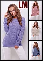 Свитер женский 88141 44-48 размер теплый шерстяной ажурный зимний осенний серый бордовый джемпер свободный