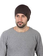 Шапка вязаная мужская коричневая