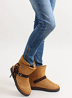 11-19 Светло-коричневые женские ботинки-угги с бахромой K1661504 39,38,37,36