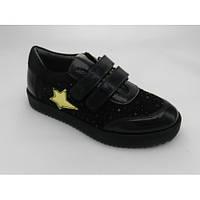 Туфельки для девочки, чёрные, кожаные с замшей