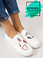 11-13 Белые женские кроссовки-слипоны с вышивкой nb102p 41,39,38