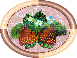 Набор для вышивки бисером на натуральном художественном холсте Земляника