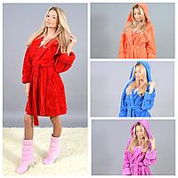Женский короткий махровый халат Турция 9126 МВ