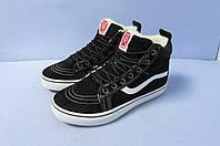 Женские,подростковые зимние  кроссовки Vans 1799-1 черные  код 0823А
