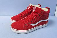 Женские-подростковые зимние кроссовки Vans 1799-9 красные код 0827А