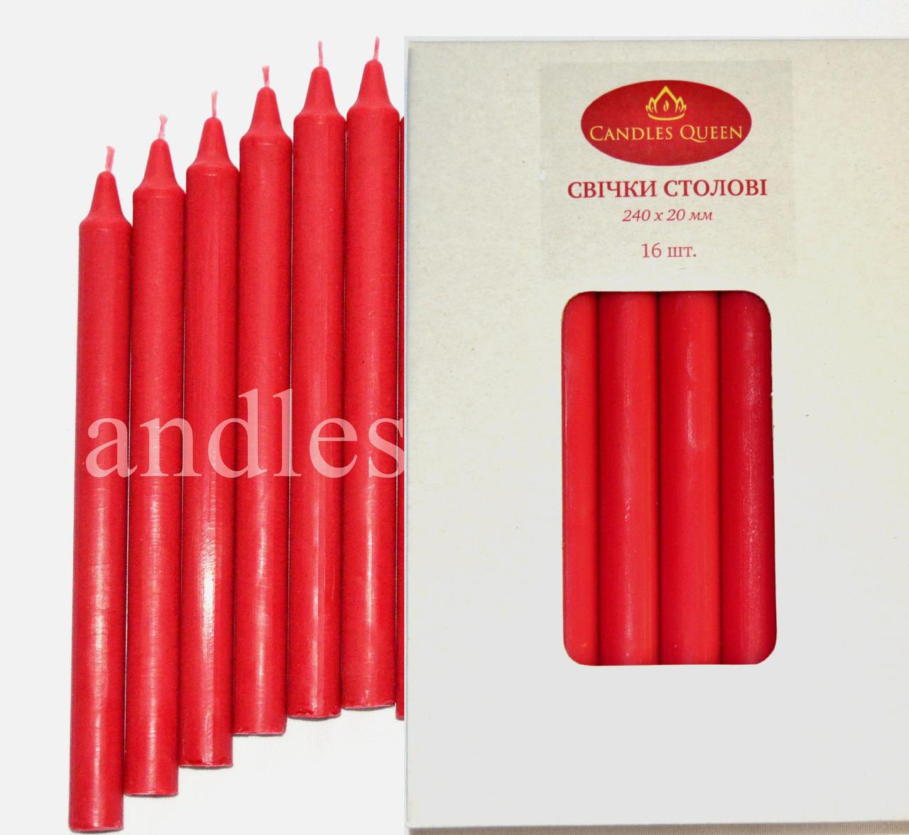 Свеча столовая красная 240х20 мм 16 шт упаковка