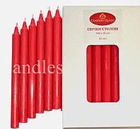 Свеча столовая красная 240х20 мм 16 шт упаковка, фото 1