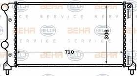 Радиатор охлаждения Fiat Doblo 2001- (1.3-1.9 JTD) 700*306мм по сотах KEMP