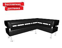 Угловой диван из кожзама черный