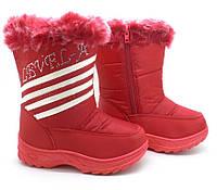 Красные сапоги для девочки, искусственный мех. Бордовые Полоска (32-36)