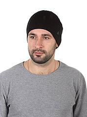 Шапка вязаная мужская черная в рваном стиле