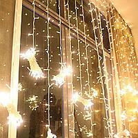 Штора, занавес  3х3м 600 led, цвет тепло-белый - декоративная гирлянда на Новый год