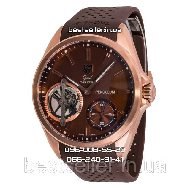 Часы TAG Heuer Grand Carrera Pendulum Tourbillon Gold/Brown. Класс: AAA.