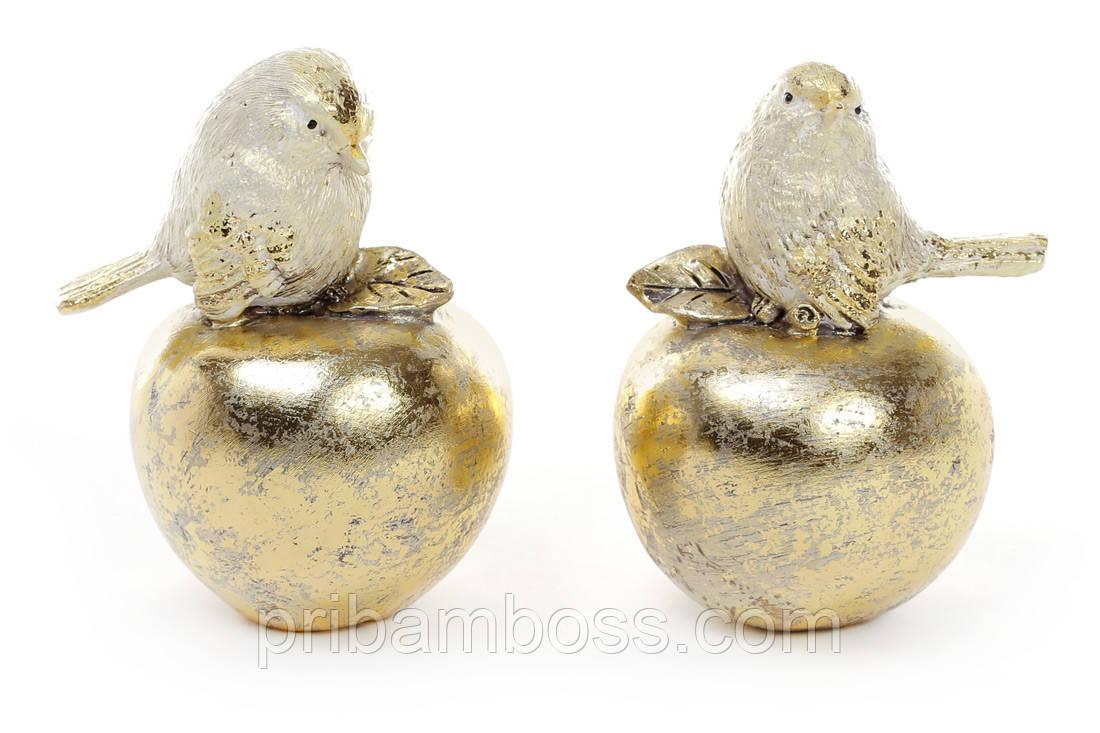 Декоративная статуэтка Птичка на яблоке 9.5см, 2 вида, цвет - золото