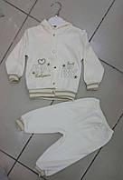 Молочный велюровый костюм для мальчиков на крестины от 6 до 9 мес