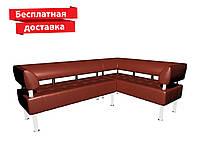 Угловой диван из кожзама коричневый, фото 1