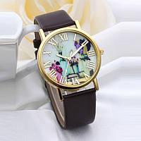 Часы женские Женева Geneva Винтажные цветы черные
