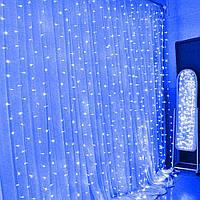 Штора, завіса світлодіодний 3х2м 500 led, колір синій - декоративна гірлянда на Новий рік, фото 1