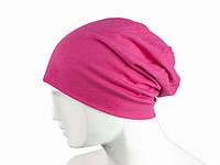 Розовая шапка зимняя модная