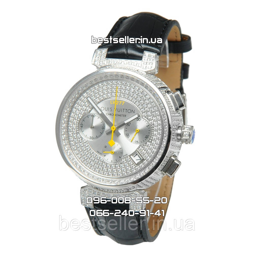 9b219d11 Часы Louis Vuitton Tambour LV277 Diamond Silver/White/Black. Реплика: Elite.
