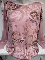 Блуза с розами кашемировая женская батальная, фото 1