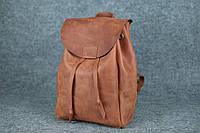 Компактный кожаный рюкзак на затяжках XL   Винтажный Коньяк, фото 1