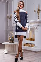 Платье 2478, белый, синий (42-48)