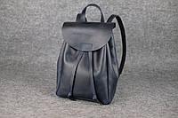 Компактный кожаный рюкзак на затяжке XL | Синий Винтаж, фото 1